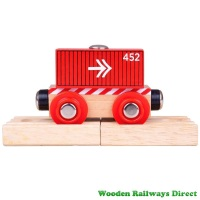Bigjigs Wooden Railway Red Container Wagon