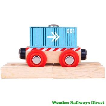 Bigjigs Wooden Railway Blue Container Wagon