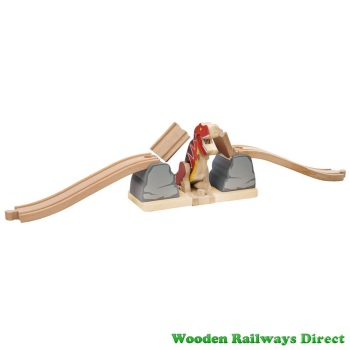 Bigjigs Wooden Railway Dinosaur T-Rex Bursting Bridge