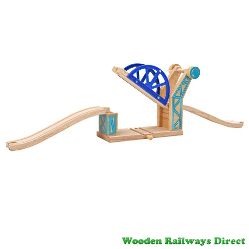 Bigjigs Wooden Railway Blue Suspension Bridge