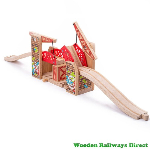Bigjigs Wooden Railway Double Lifting Graffiti Bridge