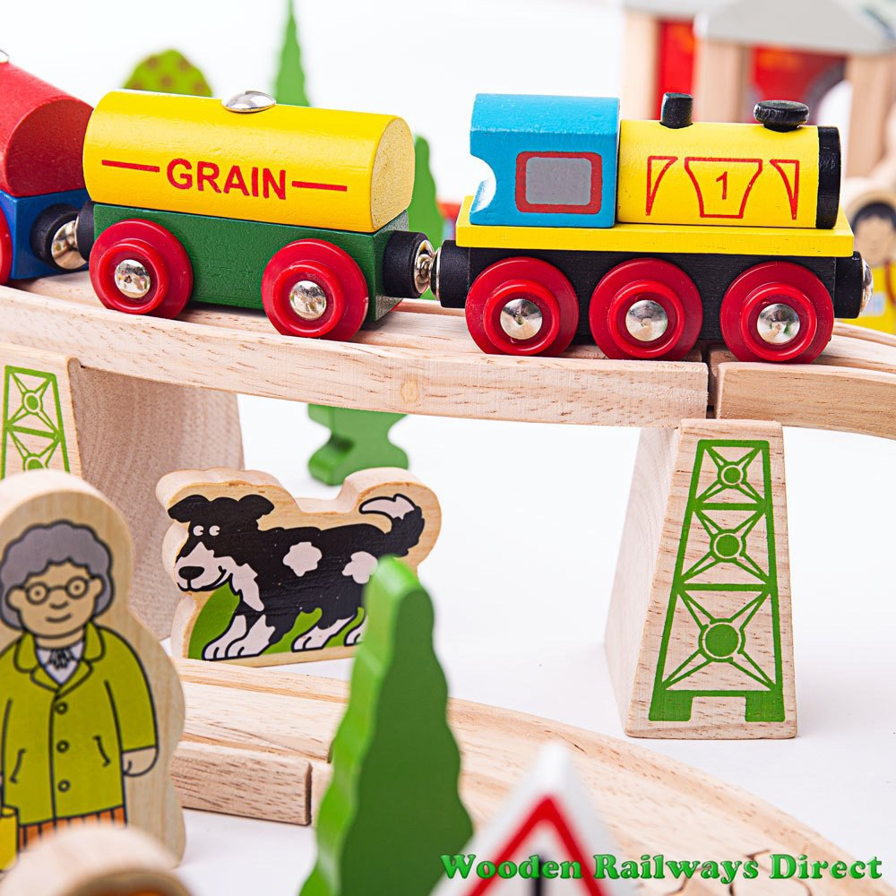 Wooden Railway Train on Track