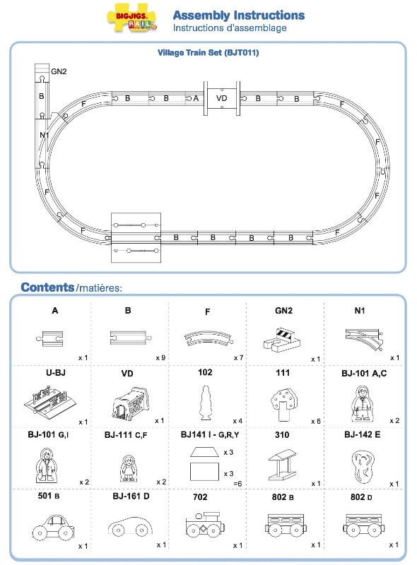bjt011 - village train set instructions