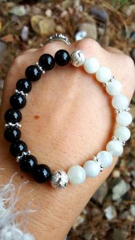 Moonstone & Black Tourmaline Bracelet