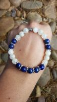 Genuine Rainbow Moonstone & Lapis Lazuli Bracelet ~ High Quality Grade A