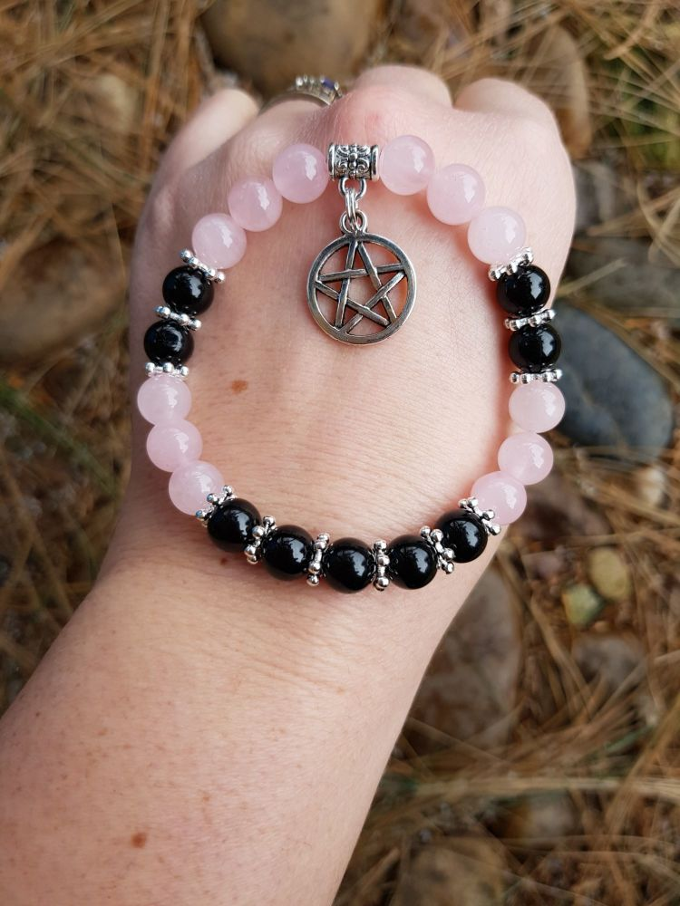 Rose Quartz & Black Tourmaline Bracelet