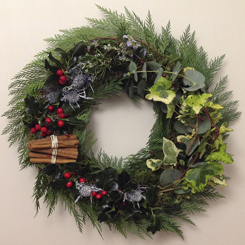 Ivy and holly christmas wreath