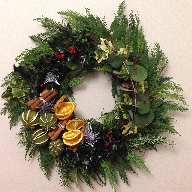 Dried lime, oranges and cinnamon wreath