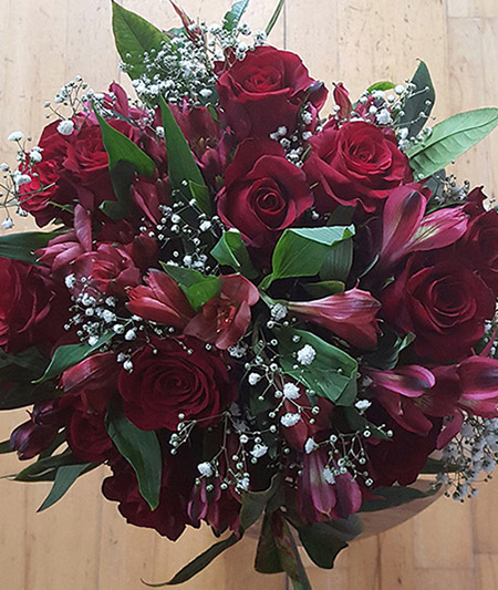 Red Roses and Alstroemeria