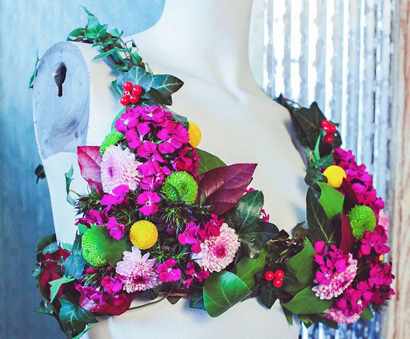 Colourful flowered bra