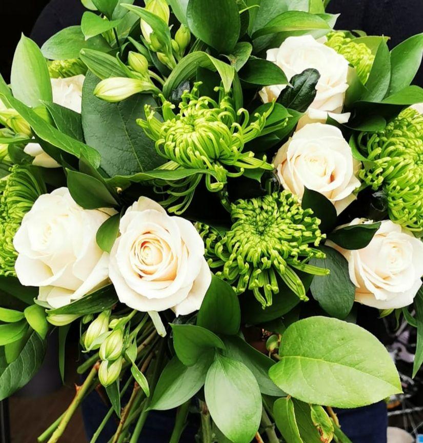 white roses and chrysanthemum