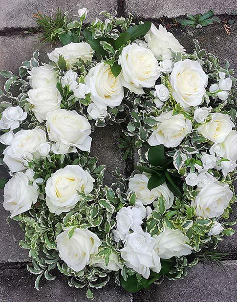 White rose sympathy  open wreath