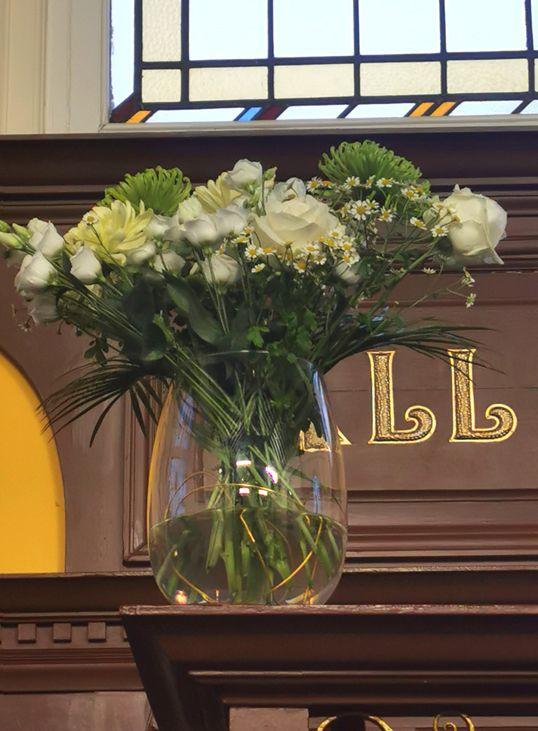 Vase arrangement, chrysanthemums , white roses  and Lisianthus