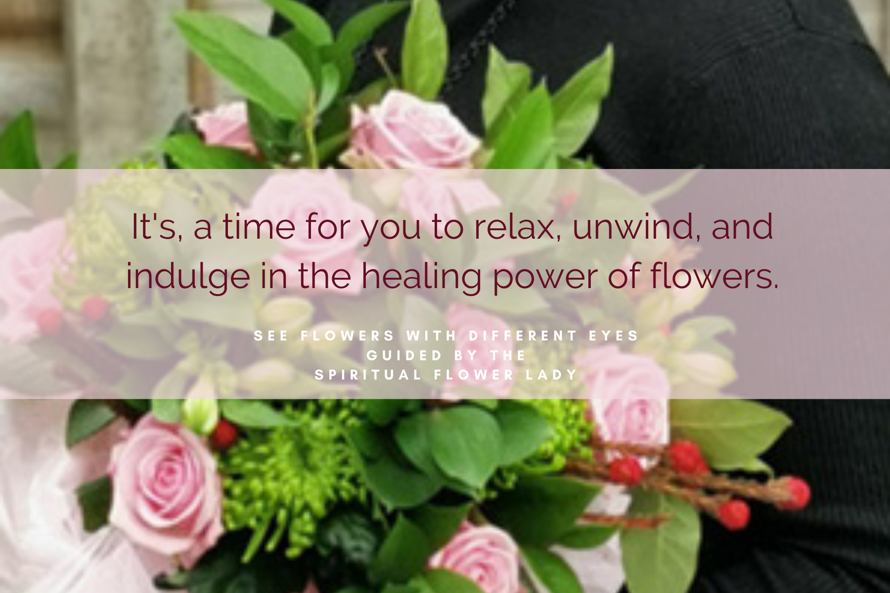 Images of  a bouquet of pink roses for a Flower Therapy Workshop gift certificate