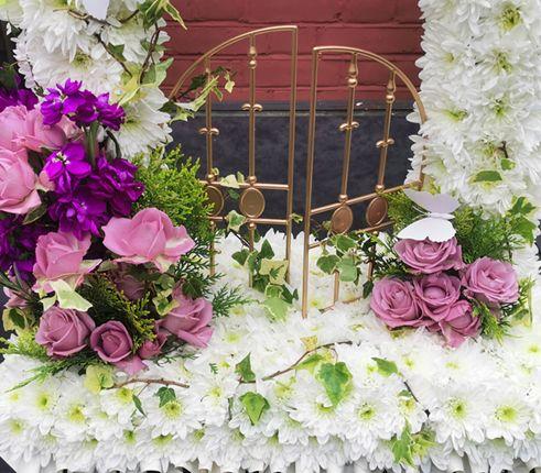 Gates of heaven, close up of gates, sympathy arrangement