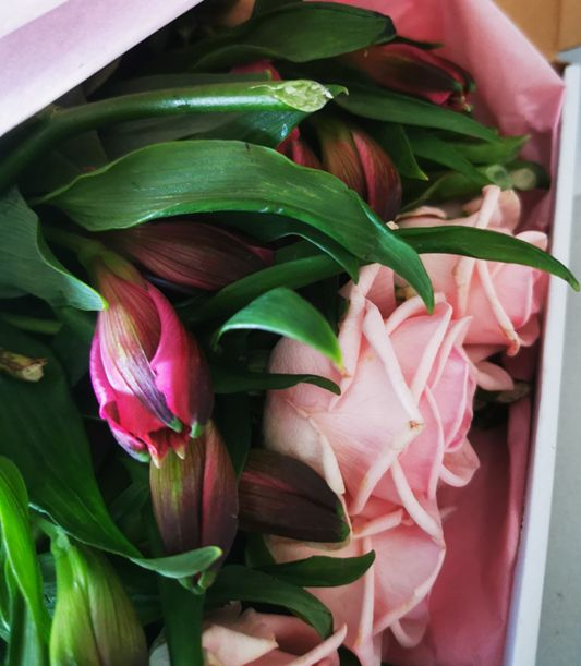 Letterbox flower delivery of pink roses