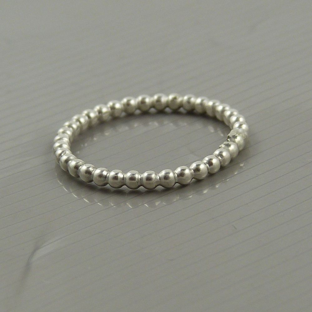 Wire Ring Beads: Sterling Silver Bead Wire Ring, 2mm, Pearl Wire Ring