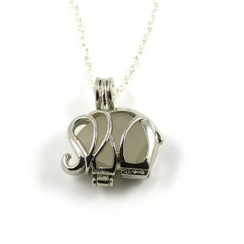 Silver Elephant Locket with White Sea Glass