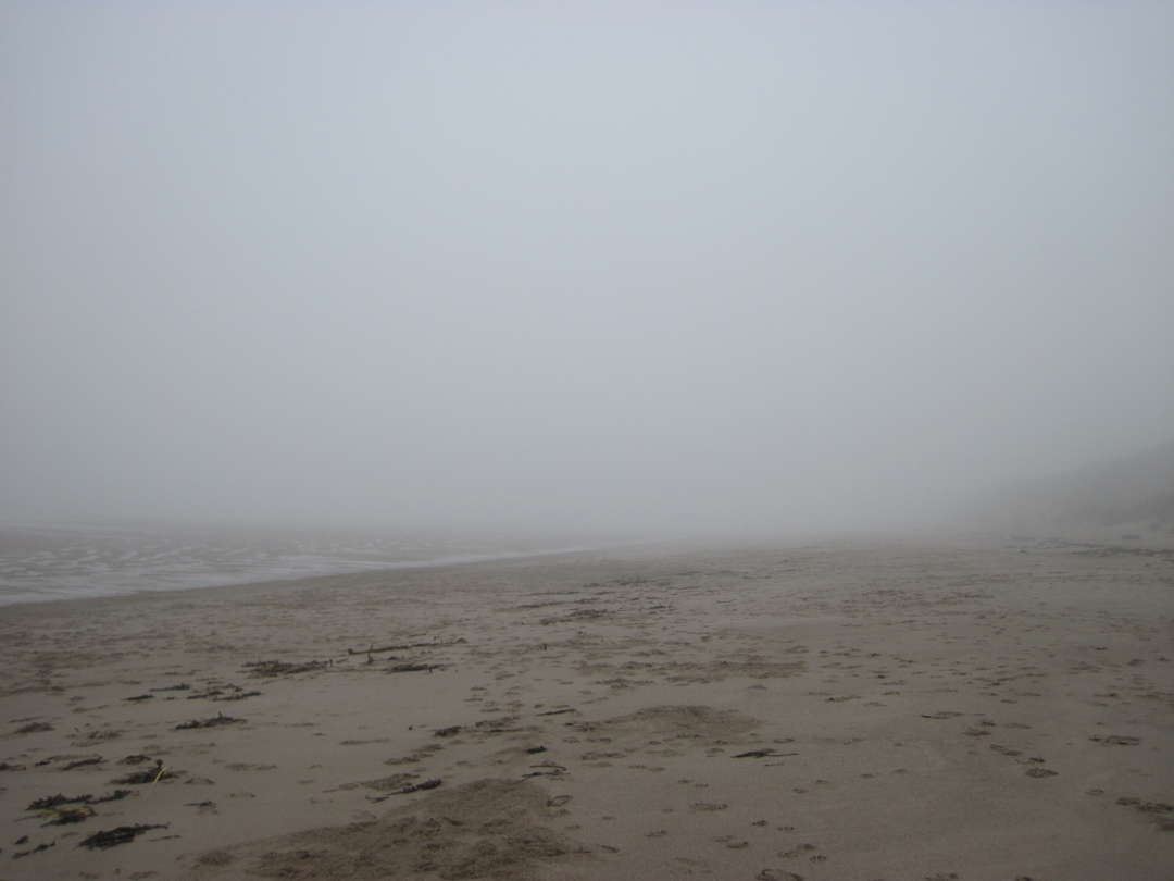 misty morning warkworth beach looking south
