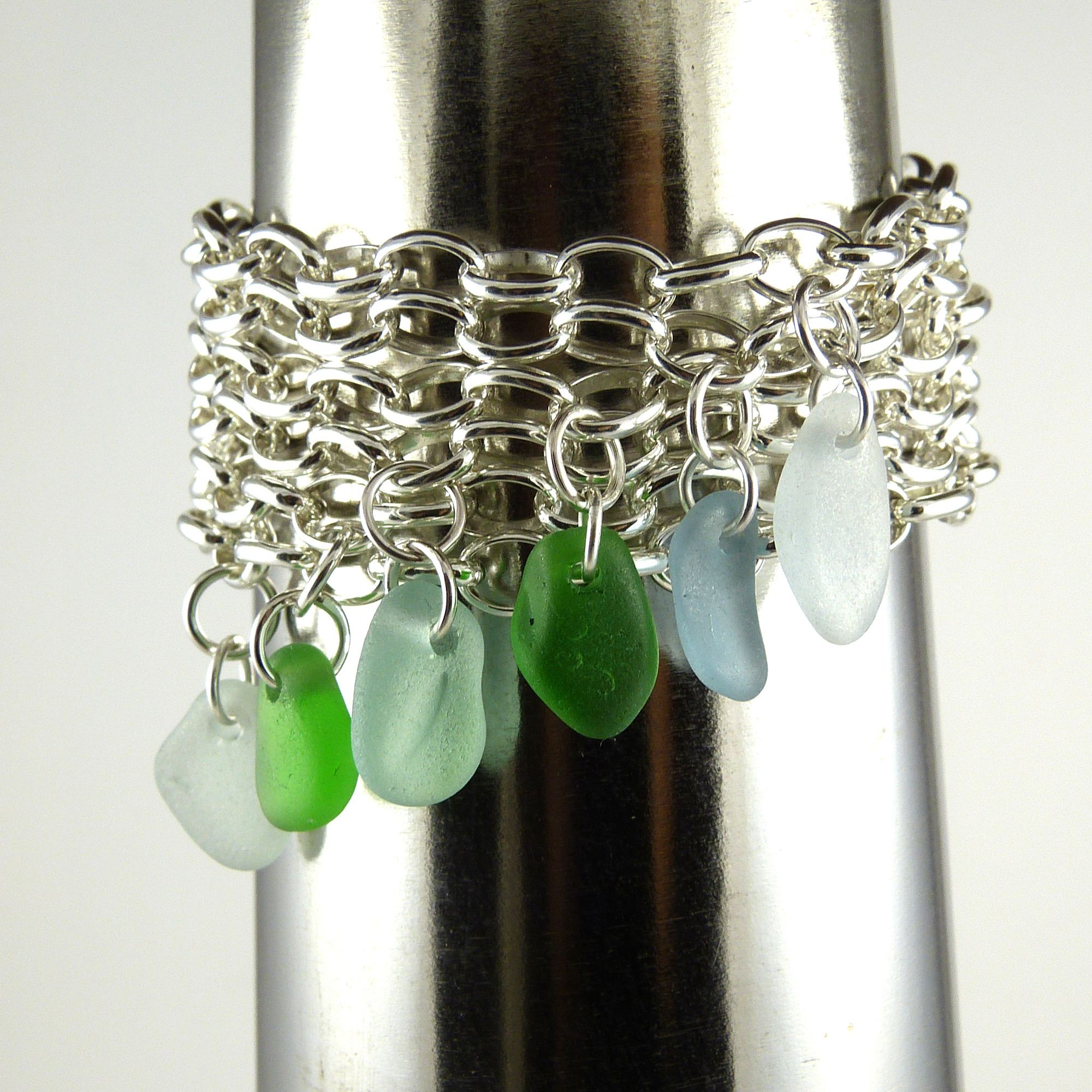 sterling silver and sea glass bracelet