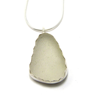 Frosty White Sea Glass Pendant Necklace MARIELE