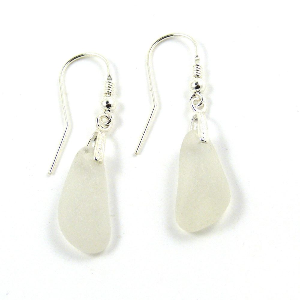 One of a Kind Sea Glass and Sterling Silver Earrings