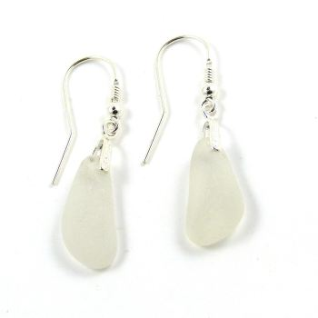 One of a Kind Sea Glass and Sterling Silver Earrings  E135