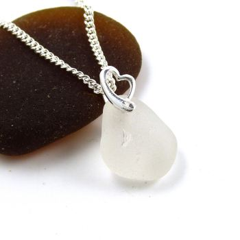 White Sea Glass and Sterling Silver Heart Necklace LEIA