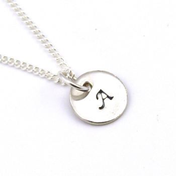 Single Initial Disc, Modern, Bridal, Personalised Initial Stamped Jewellery