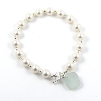 Swarovski Pearl and Sea Glass Bracelet