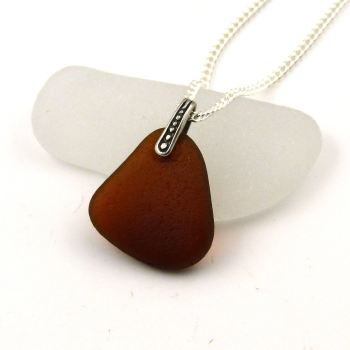 Toffee Brown Sea Glass and Silver Necklace MIRA