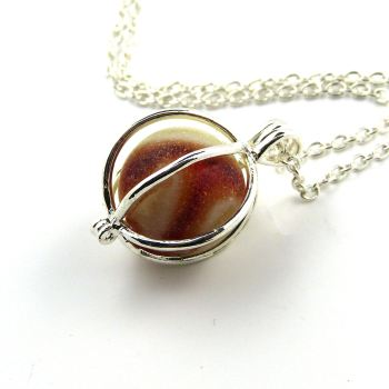 Red and Ivory Swirl Sea Glass Marble Locket Necklace