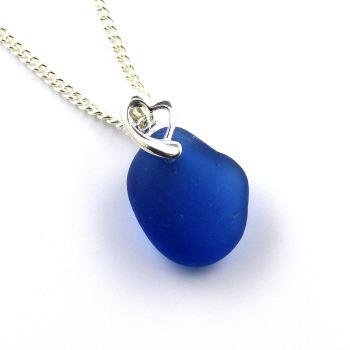 Rare Cobalt Blue English Sea Glass Necklace OLIVIA