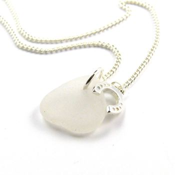 Snow White Sea Glass, Sterling Silver Horseshoe Charm Necklace