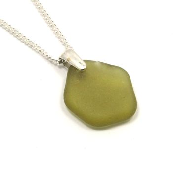 Seaweed Green Sea Glass and Silver Necklace KARINA