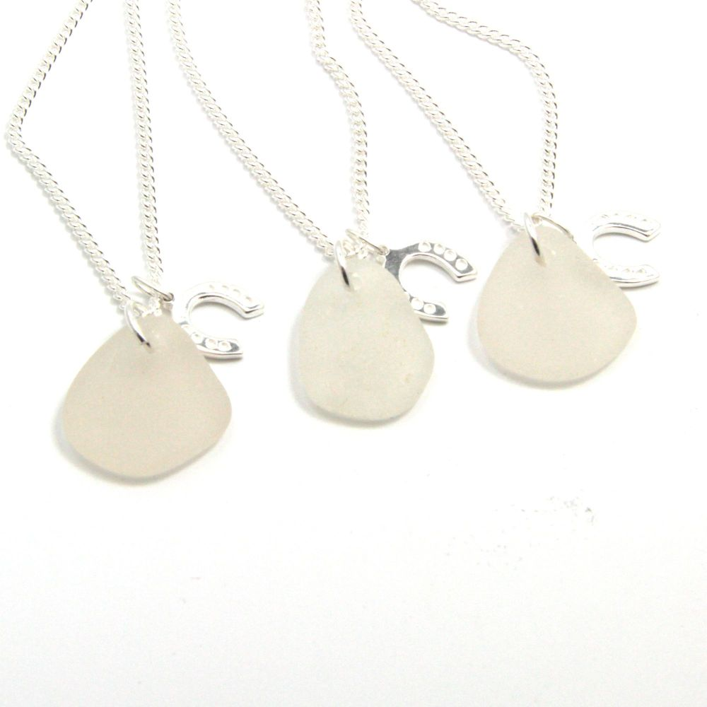 Set of 3 Bridesmaid necklaces, Snow White Sea Glass, Sterling Silver Horses