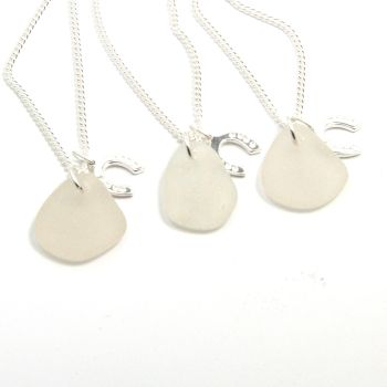 Set of 3 Bridesmaid Necklaces, Snow White Sea Glass, Sterling Silver Horseshoe Charm