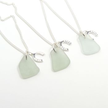 Set of 3 Bridesmaid Necklaces, Seafoam Sea Glass, Sterling Silver Horseshoe Charm