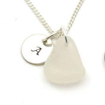 White Sea Glass and Personalised Silver Disc Necklace