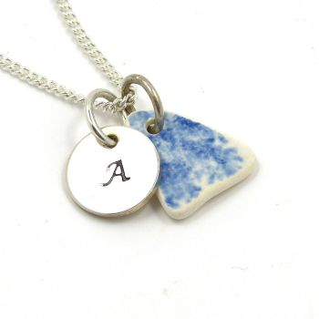 Personalised Sterling Silver Initial Disc Blue and White Beach Pottery Necklace