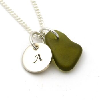 Personalised Silver Disc Necklace Husk Sea Glass