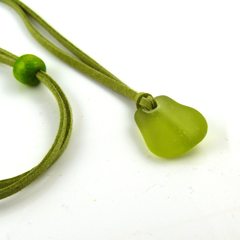 Sea Glass and Faux Suede Long Beach Necklace Lime Sea Glass