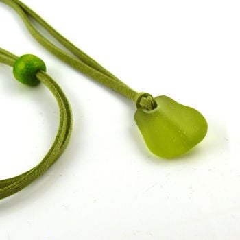 Sea Glass and Faux Suede Long Beach Necklace Lime Sea Glass - Free Postage