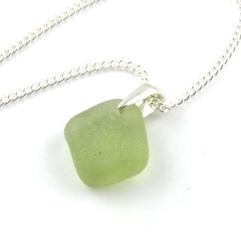 Pale Lime Green Sea Glass Necklace STARLA