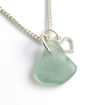 Pale Julep Sea Glass, Tiny Heart Charm, Sea Glass Necklace c240
