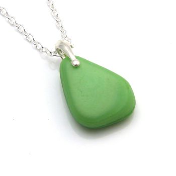 Mint Green Milk Sea Glass Necklace ELINA