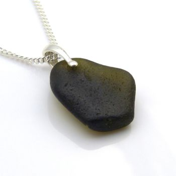 Rare Very Dark Alligator Sea Glass Pendant Necklace, KARA