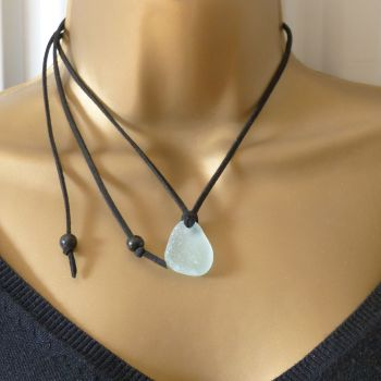 Sea Glass and Faux Suede Long Beach Necklace Pale Blue Sea Glass - Free Postage