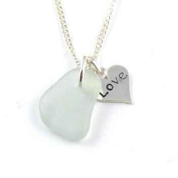 Sea Glass and Sterling Silver Love Heart Necklace