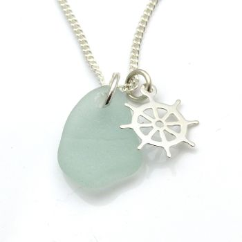 Seafoam Blue Sea Glass Sterling Silver Ship's Wheel Charm Necklace